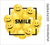 smile yellow balloons background | Shutterstock .eps vector #1019194090