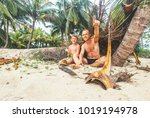 like shipwrecked  father and...   Shutterstock . vector #1019194978