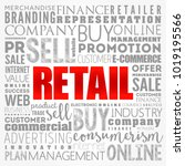 retail word cloud collage ... | Shutterstock .eps vector #1019195566