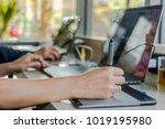 a creative business writes... | Shutterstock . vector #1019195980