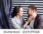 beautiful couple hugging and... | Shutterstock . vector #1019199268
