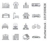 city icons. gray flat design.... | Shutterstock .eps vector #1019200828