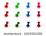 pin set   different colors and... | Shutterstock . vector #1019201200