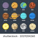 colorful planets set. vector... | Shutterstock .eps vector #1019204260