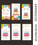 pack of happy birthday card... | Shutterstock .eps vector #1019206669