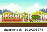 beautiful flower bed vector... | Shutterstock .eps vector #1019208373