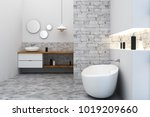 new loft bathroom interior.... | Shutterstock . vector #1019209660