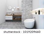 new loft bathroom interior.... | Shutterstock . vector #1019209660