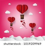 origami made hot air balloon in ... | Shutterstock .eps vector #1019209969