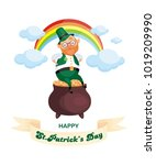 saint patrick s day poster with ... | Shutterstock .eps vector #1019209990