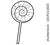 coloring book outlined lollipop | Shutterstock .eps vector #1019211820