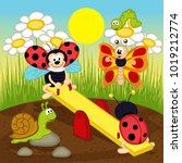 ladybugs  swinging on swing  ... | Shutterstock .eps vector #1019212774