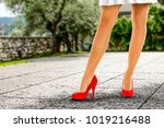 spring time and slim woman legs ... | Shutterstock . vector #1019216488