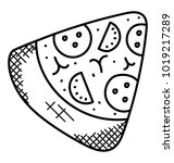 a delicious pizza slice ... | Shutterstock .eps vector #1019217289