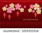 chinese new year red background ... | Shutterstock .eps vector #1019221516