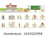 school building exterior and... | Shutterstock .eps vector #1019223598