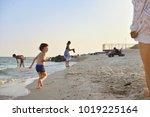 the kid is running on the beach ...   Shutterstock . vector #1019225164
