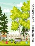 spring landscape with garden... | Shutterstock .eps vector #1019225290