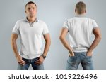 athletic man in the blank polo... | Shutterstock . vector #1019226496