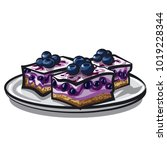 illustration of blueberry cake | Shutterstock . vector #1019228344
