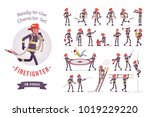 male firefighter ready to use... | Shutterstock .eps vector #1019229220