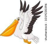 Cartoon Pelican Flying Isolate...
