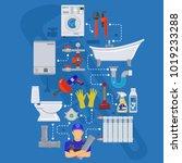 plumbing service infographics... | Shutterstock .eps vector #1019233288