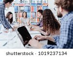 young business team meeting in... | Shutterstock . vector #1019237134