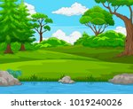 forest scene with many trees... | Shutterstock .eps vector #1019240026