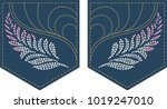 rhinestone applique for pocket... | Shutterstock .eps vector #1019247010