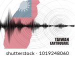 taiwan earthquake wave with... | Shutterstock .eps vector #1019248060