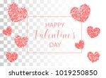 valentines day colored confetti ... | Shutterstock .eps vector #1019250850