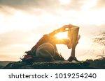 women tourists read books in... | Shutterstock . vector #1019254240