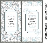 set of two vertical wedding... | Shutterstock .eps vector #1019254930