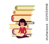 pile of books and young woman ... | Shutterstock .eps vector #1019254948