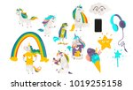 vector cartoon unicorns  magic... | Shutterstock .eps vector #1019255158
