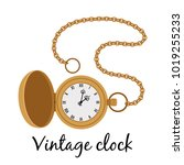 vintage gold hands watch... | Shutterstock .eps vector #1019255233