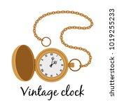 vintage gold hands watch...   Shutterstock .eps vector #1019255233