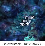 mind body spirit buddha word... | Shutterstock . vector #1019256379