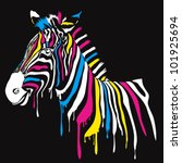 Zebra With Colored Stripes Wit...