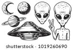 Aliens And Ufo Set Of Vector...