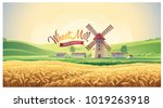 rural summer landscape with...   Shutterstock .eps vector #1019263918