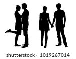 set of vector silhouettes of a... | Shutterstock .eps vector #1019267014