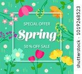 spring sale background banner... | Shutterstock .eps vector #1019268523