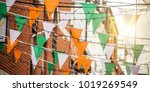 garland with irish flag colors... | Shutterstock . vector #1019269549