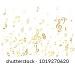 gold flying musical notes... | Shutterstock .eps vector #1019270620