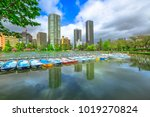 pedal boats and tokyo...   Shutterstock . vector #1019270824