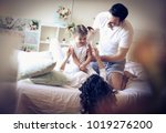 morning playing routine with... | Shutterstock . vector #1019276200