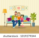 smiling young parents and their ... | Shutterstock .eps vector #1019279344
