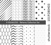 8 seamless patterns collection... | Shutterstock .eps vector #1019280403